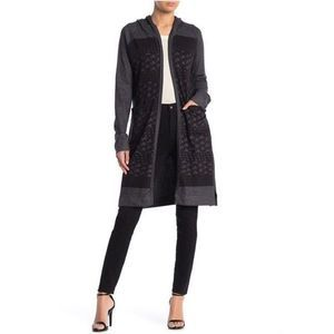 NWT Go Couture Printed Hooded Cardigan Sweater